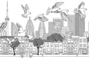 Birds over Toronto - hand drawn black and white illustration of the city with a flock of pigeons