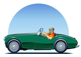 Old green roadster being driven