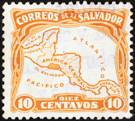 El Salvador map on vintage postage stamp