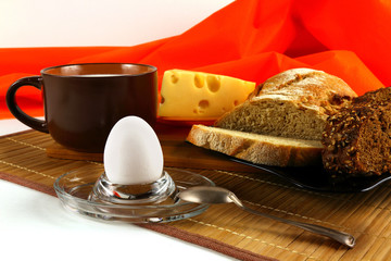 Egg, Cup of milk, cheese and bread
