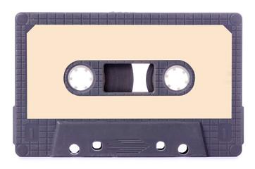 Audio cassette stereo music on white background isolation