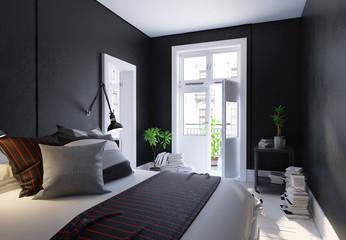 Black living room interior, Scandinavian style, 3d render