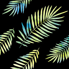 watercolor palm leaves seamless pattern with black background