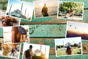 A lot of pictures on the wooden surface. Travel memories of Turkey including Istanbul and Cappadocia. Next to the photos is a place for text