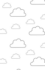 Clouds line art icon. Art illustration isolated on white background