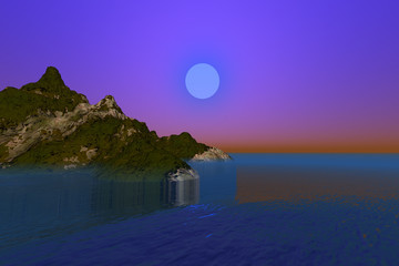 Sunset, a night landscape, grass and forests on the ground, beautiful sea and a dreamy sky.