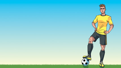 Football Player Background / Cartoon background with a football player on a soccer field, and copy space for your text.