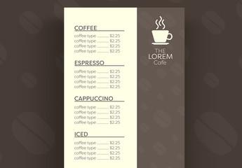 Coffee Menu Layout