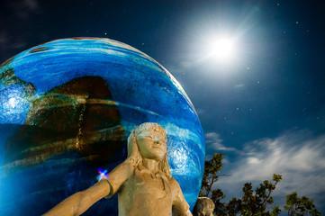 Sculpture under the moonlight