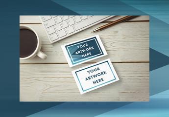 2 Business Cards on Desk Mockup