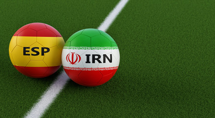 Spain vs. Iran Soccer Match - Soccer balls in Spain and Iran national colors on a soccer field. Copy space on the right side - 3D Rendering