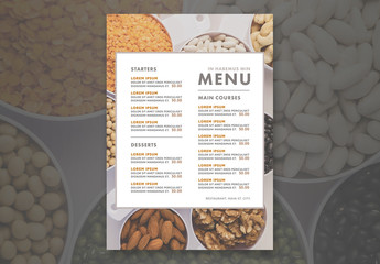 Menu Layout with Health Food Photo Element