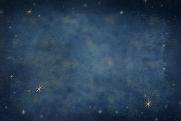 Gold celestial stars background with dark vignette, painted space background