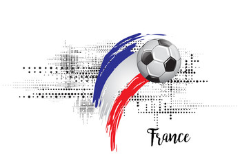 FRANCE SOCCER NATION FLAG. FOOTBALL TEAM TEMPLATE ILLUSTRATION. PAINTED ART AND DOTS GRUNGE BACKGROUND