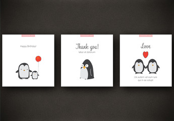 3 Social Media Post Layouts with Penguin Illustrations
