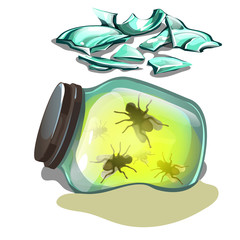 Glass jar with flies lying in the sand. Fragments of broken glass isolated on white background. Vector cartoon close-up illustration.