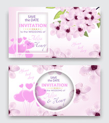 Set wedding invitation template or greeting card. Elegant background with cherry or sakura blossom flowers and balloon hearts. Vector