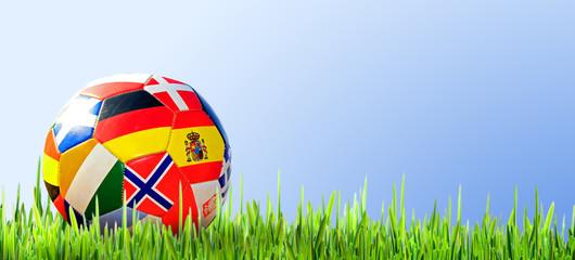 Fußball mit Länderflaggen auf Rasen