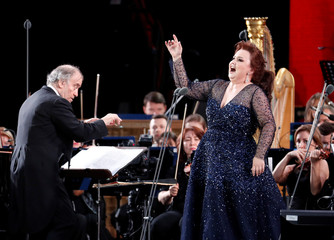 Russian conductor Valery Gergiev and coloratura soprano Albina Shagimuratova perform during a gala concert, dedicated to the upcoming World Cup, in Moscow