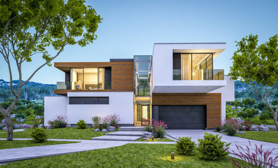 3d rendering of modern house by the river at evening Wall mural
