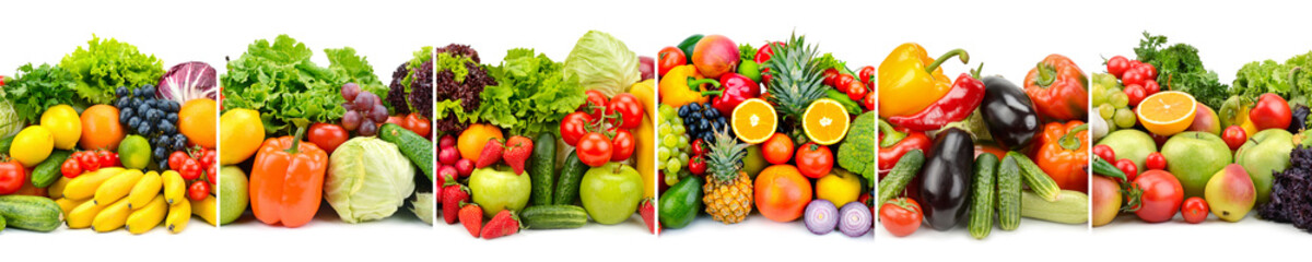 Panorama variety fresh fruits and vegetables isolated on white