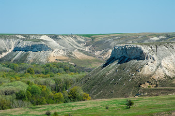 Chalky mountain Red and mountain Horse's head, Volgograd region, Russia.