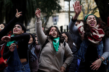 Demonstrators attend a protest in favour of legalising abortion outside the Congress while lawmakers debate an abortion bill in Buenos Aires