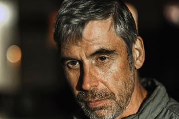 portrait of brutal man with expressive emotion