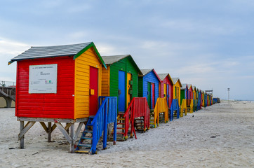 Colorful houses on beach in Cape Town, Bright Colored Beach Houses, South Africa