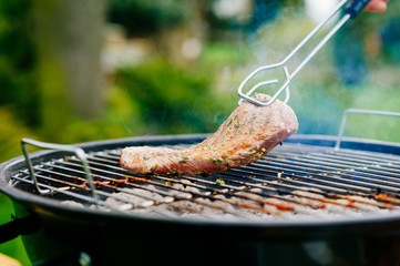 Grilled Lamb fillet on charcoal grill