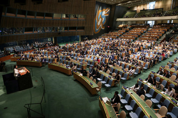 U.S. Ambassador to the United Nations Nikki Haley addresses a United Nations General Assembly meeting in New York