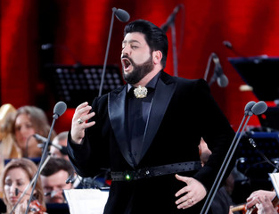 Azerbaijani tenor Yusif Eyvazov performs during a gala concert, dedicated to the upcoming World Cup, in Red Square in Moscow