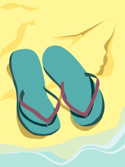 summer illustration with flip flops on sand with water sea