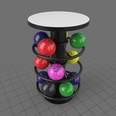 Round table with bowling ball rack