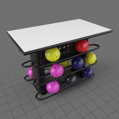 Rectangular table with bowling ball rack