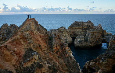 Amazing and unique cliffs formation with  sea arches, grottos and smugglers caves in Lagos, Algarve, Portugal
