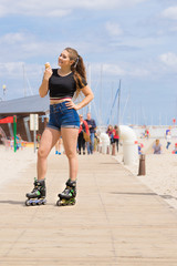 Roller skate woman eating ice cream