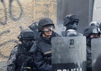 Riot police are seen during a protest of the UPEA (El Alto Public University) students in La Paz