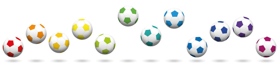 Soccer balls loosely arranged. Rainbow colored jumping soccer ball set, twelve different colors. Isolated vector illustration on white background.