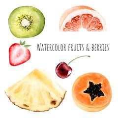 Hand drawn watercolor illustration clipart object kiwi strawberry grapefruit pineapple slice papaya