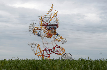 A view shows an electricity pylon, which depicts the official mascot for the upcoming soccer World Cup, Zabivaka, outside Kaliningrad
