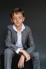 Portrait of smartly dressed tween boy