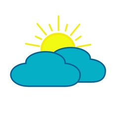 Flat icon sun behind cloud isolated on white background. Vector illustration.