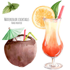 Hand drawn watercolor illustration exotic tropical tropic  cocktail pina colada coconut tequila sunrise orange mint clipart