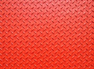 red painted industrial metal plate industrial diamond pattern grip texture