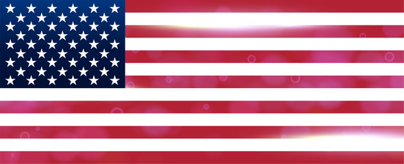 The national flag of the country of united states of America. Modern vector pattern, banner of USA. Flat wide design element for print, wallpaper, wrapping paper, websites. Vector illustration