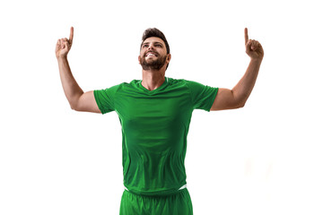 Fan / Sport Player on green uniform celebrating