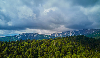 aerial photography of mountain scenery