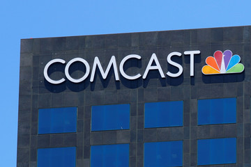 The Comcast NBC logo is shown on a building in Los Angeles, California