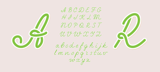 Handwritten italic light font. Uppercase and lowercase. Hand drawn pen style modern calligraphy cursive typeface. Vector type set. Green summer style. Any letters can be a logotype.